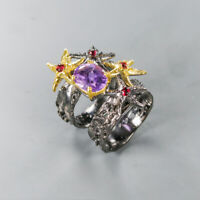 Natural Amethyst 925 Sterling Silver Ring Size 7/RR17-2127