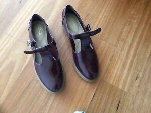 Clarks Burgundy T-Bar Shoes