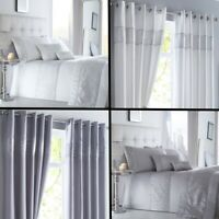 Shimmer Sequin Diamante Duvet Cover Set, Eyelet Curtains, Cushions- White Silver