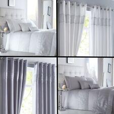 Shimmer Sequin Diamante Duvet Cover Set, Eyelet Curtains, Cushions- White Silver
