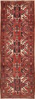 Traditional Geometric Oriental Runner Rug Wool Hand-Knotted 4x10 Red Carpet