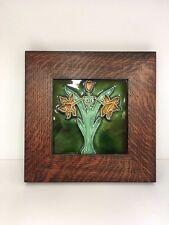 "6"" Porteous Double Flower (Yellow/Green) Tile 4B Family Woodworks Oak Park Frame"