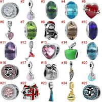 European Silver Heart Charms Crystal Bead Xmas Pendant Fit 925 Sterling Bracelet