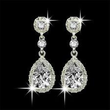 18K White Gold Filled Mystic Topaz Rainbow Hollow Waterdrop Lady Dangle Earrings