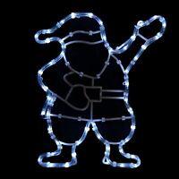 Waving Santa Rope Light Static White LED Silhouette Christmas Outdoor Decoration