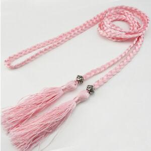 Dress Chain Thin Rope Decorated Waist Bowknot Woven Tassel Belt Women Braided LL