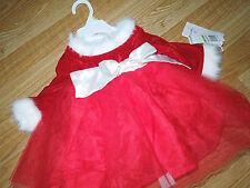 Baby girl DRESSES dress RED fur CHRISTMAS lilybird  3 / 6 Months