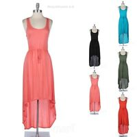 High Low Hem Solid Scoop Neck Sleeveless Casual Jersey Long Maxi Dress S M L