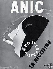 Sigarette Anic Franz. XL insegne 1938 maschera nicotina fumare Pubblicità Francia