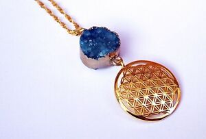 Round Blue Drusy Agate and Flower of Life Necklace. Gold Plated. Sacred Geometry