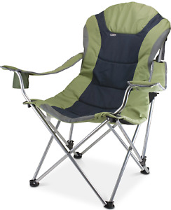 Picnic Time Reclining Camp Green Foldable Chair with Carrying Case 5060