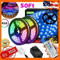 50FT,LED Strip Lights,RGB 5050 LED Strips with Remote Controller, Color Changing