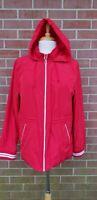 Tommy Hilfiger Red Hooded Lined Windbreaker Jacket Womens Size L