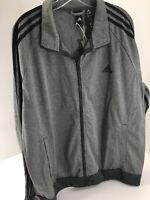 Adidas Mens Sleeve Stripe Full Zip Track Jacket Heather Gray/black X-large NWT=
