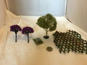 dollhouse miniature lot of trees and flowered arbor half scale