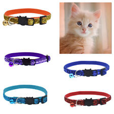 EE_ GLITTER CAT PUPPY DOG COLLAR WITH BELL SAFETY BUCKLE ADJUSTABLE PET SUPPLY F