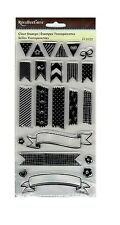 RECOLLECTIONS BANNERS Clear Stamp Set Pennant Ribbon Flower Flag