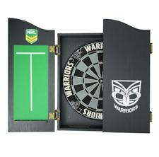 49666 NEW ZEALAND WARRIORS NRL LOGO BRISTLE DARTBOARD & WOODEN CABINET DARTBOARD