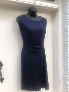 Designer Diane Von Furstenberg Silk Dress Navy Blue S: UK- 12  / US-8 BNWT