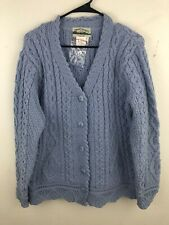 Aran Crafts Chunky Cable Knit Cardigan Sweater Large Blue 100% Merino Wool NEW