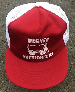 Wegner Auctioneers Covered Wagon hat cap Made in USA Snapback Mesh vtg Red/White