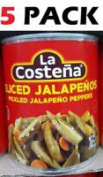 La Costena Sliced Pickled Jalapeno Peppers - 28 Oz ( 5 Pack ) No Preservatives