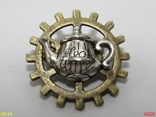 steampunk brooch badge pin cog gearwheel silver teapot afternoon tea duelling