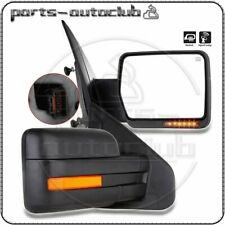 Left+Right For 07-14 Ford F150 Power Heated Led Signal Puddle Light Side Mirrors