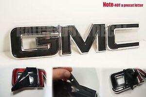 07-20 GMC Sierra Yukon FLAT Black Front Grill Emblem Overlay Kit 1500 Matte