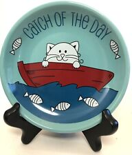 Whisker City Catch Of The Day Cat In Red Boat Fish Ceramic Blue Saucer 5-1/4""