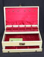 Vtg Bond St Jewel Case Jewelry Box With Key Drawer Golden Earrings Cream Velvet