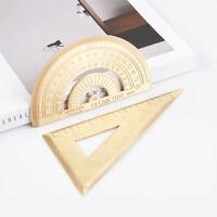 Vintage Copper Metal Brass Triangular Ruler Protractor for School Stationery FM