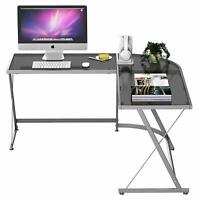 L-Shape Corner Computer Desk PC Glass Laptop Table Workstation Home Office Clear