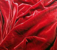 "Silk VELVET Fabric RUBY RED 6""x22"" remnant"