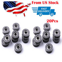 """20pc """"V"""" Groove 12mm Round Steel Wheel Pulley Bearing Roller"""