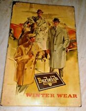 OLD BURLEIGH WINTER WEAR VINTAGE ADVERTISEMENT PAPER PRINT ON THIN METAL SHEET