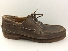 Frye Mens 13 D Medium Brown Leather Moc Toe Boat Shoe 64751 3 eye Casual Lace Up