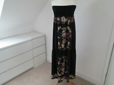 MISSONI WOMEN'S LONG MAXI SILK DRESS UK SIZE 12 BLACK FLORAL PATTERN 39854