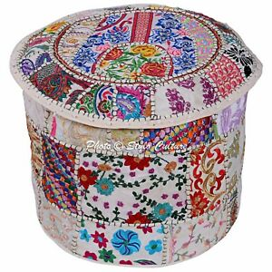 Embroidered Patchwork Ottoman Cover Indian Floor Cushion Ethnic Pouf Stool Cover