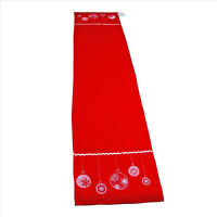 Table Runner Red with Embroidered Christmas Ball Design 16 x 72 inches
