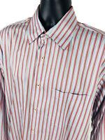 Robert Talbott Shirt Mens Size Large L Red Blue Striped Long Sleeve Button