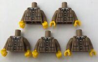 LEGO 5 x Plaid Coat Jacket Tan Male Detective Torsos Minifigure Torso Bundle cmf