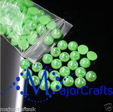 200pcs 8mm Neon Green AB Flat Back Half Round Resin Pearls Scrapbook Gems C12