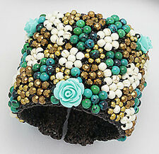 Fabulous COLORFUL Blue Glass & Jade Beaded Rose Leather Cuff SHOWSTOPPER