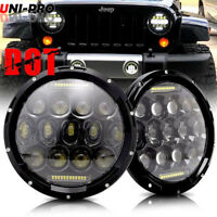 For Freightliner Coronado Lights 7'' LED Projector Headlights Amber Turn Signal
