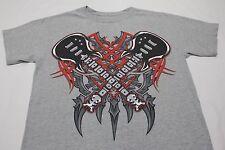 Dual Guitarras - Rock Metal Punk - Gris - Juventud Talla Mediana Camiseta