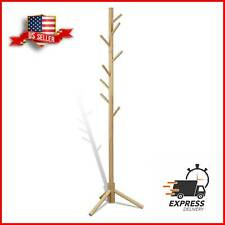 Wooden Coat Rack Stand Hall Tree Entryway Organizer 3 Heights w/ 8 Hooks