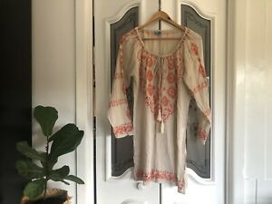 Tangarine Beach Bohemian Boho Gypsy Dress Embroidered Size S