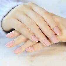24Pcs/set Matte Pink Short False Nails Full Oval Artificial Nail Tips Gel Polish