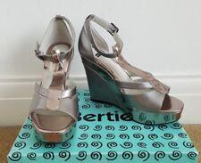 BERTIE Metallic Platform Wedge T Bar Sandals, Size UK 6 (EU 39)